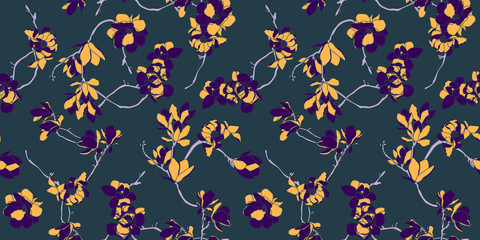 Floral seamless pattern wallpaper in purple, grey and peach color- Nordic magnolia flowers background - Vector