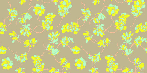 Floral seamless pattern wallpaper in pastel soft colours - Nordic magnolia flowers background - Vector
