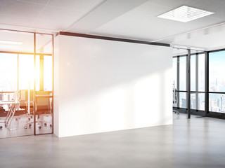 Blank white wall in concrete office with large windows Mockup 3D rendering