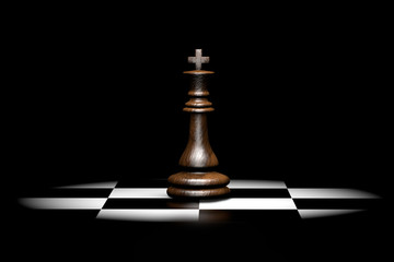 3d illustration wooden chess piece king