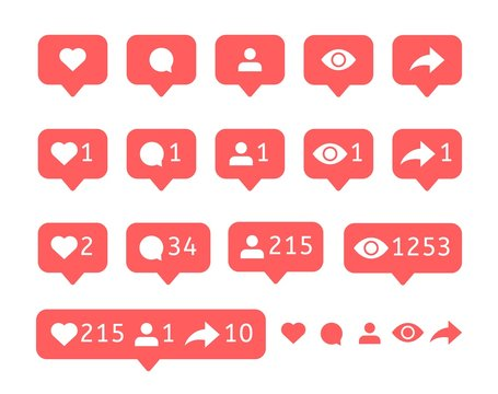 Like comment, user view, follower repost. Social media icons Vector notification. Bubble message Flat interface notice
