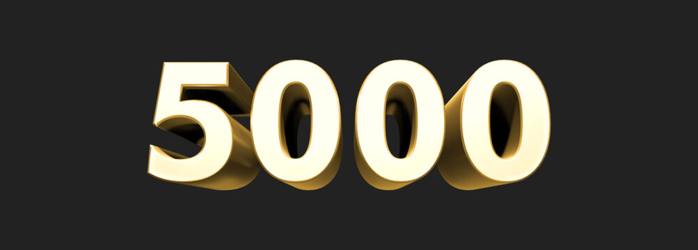 5000 five thousand number rendering.  Metallic gold 3D numbers. 3D Illustration. Rendering. Isolated on black background
