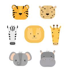 Vector set of cute animals. Jungle and savanna animals: tiger, cheetah, lion, zebra, giraffe, hippopotamus, elephant. Cartoon illustration for children