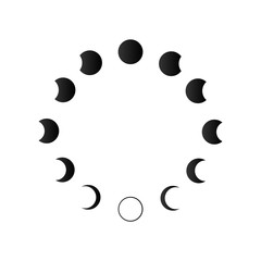 Phases of solar and lunar eclipse . Vector icon