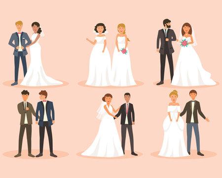 Flat design of wedding couple collection.Vector EPS10