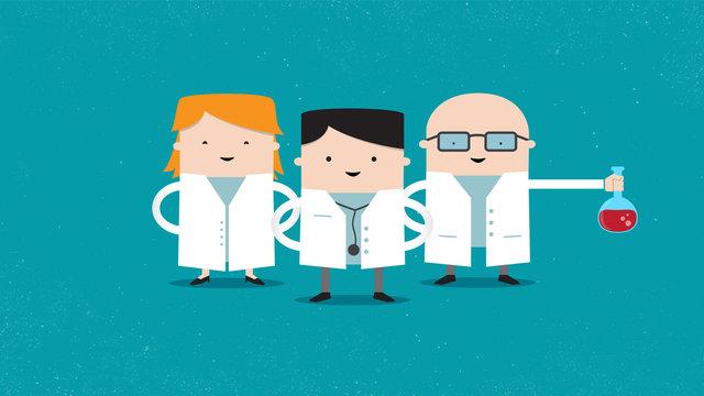 Mini doctors 2D characters cartoon