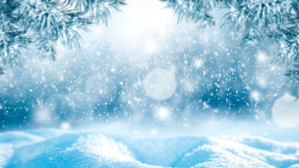 Winter background of snow and free space for your decoration. Christmas time