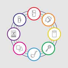 8 colorful stroke icons set included bottle, recipe, napkin, ladle, skimmer, kitchen board, mitten, fridge