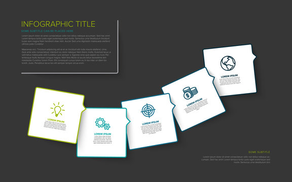 Multipurpose Infographic template with five elements - dark background version