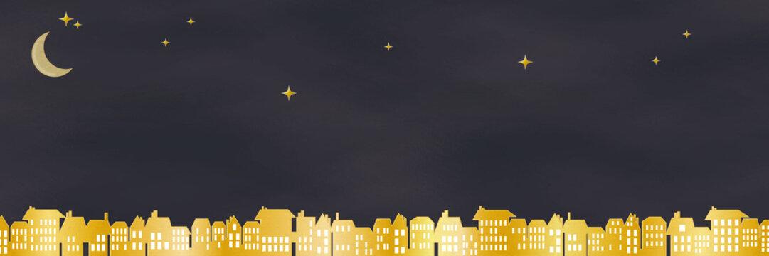 月夜 星を見る街 背景イラスト