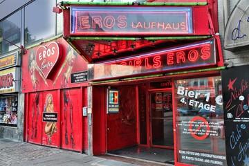 HAMBURG, GERMANY - AUGUST 28, 2014: Sex shop at Reeperbahn in Hamburg. Reeperbahn area is Hamburg's famous red light district.