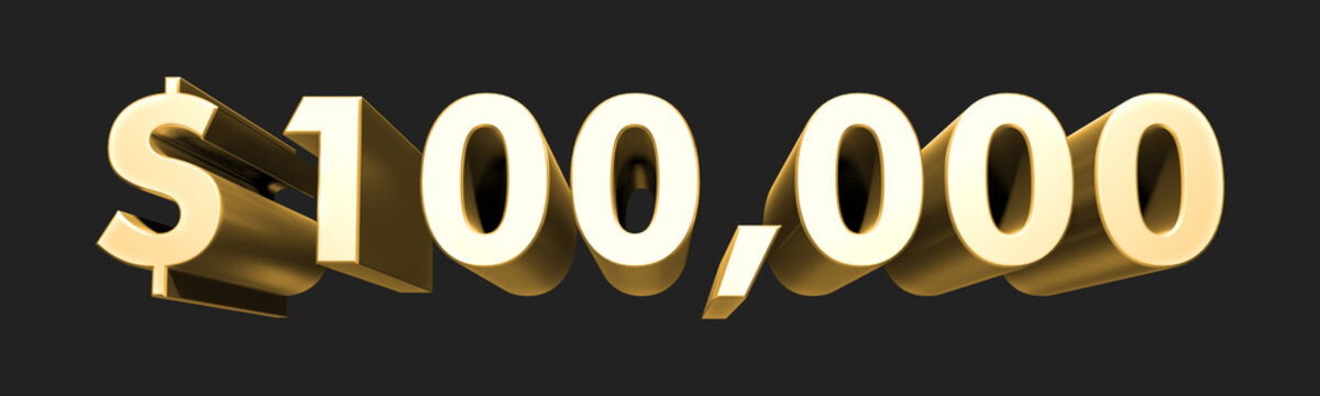100.000$ One hundred thousand dollars. Metallic gold 3D numbers. 3D Illustration. Rendering. Isolated on black background