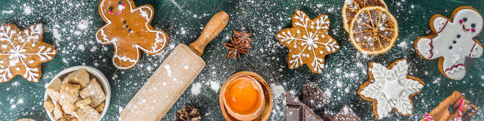 Photo sur Aluminium Nourriture Christmas, New Year cooking background. Baking ingredients and utensils - flour, rolling pin, gingerbread, milk, eggs. Making festive Christmas sweet cookies. Top view copy space