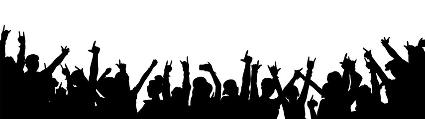 Rock music concert crowd silhouette isolated on white background