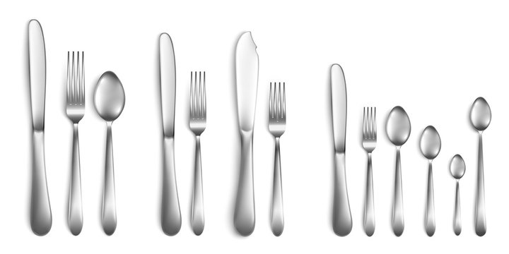 Fork, spoon and knife - cutlery set realistic vector illustrations isolated.