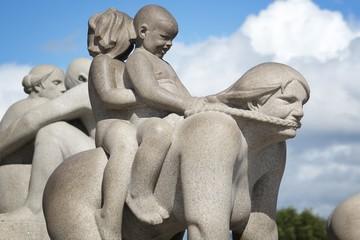 OSLO, NORWAY - AUGUST 2, 2015: Vigeland Installation in Frogner Park, Oslo. 212 sculptures around the park were all designed by artist Gustav Vigeland.