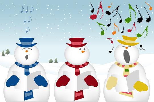 carol singing snowmen