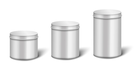 Silver or steel metal boxes or containers 3d vector illustrations set isolated.