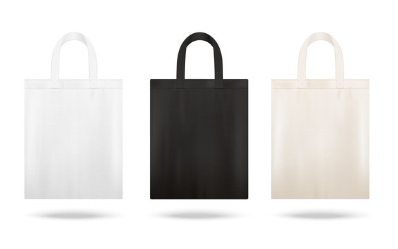 Reusable shopping tote bag mockup set with different fabric colors
