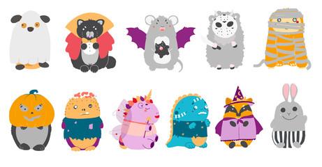 Halloween clipart set with kawaii cartoon characters of children