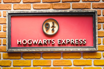 sign of the famous  9 and three quarter platform of the Hogwarts Express train  from the Harry Potter saga - Ferrara, Oct 15 2017