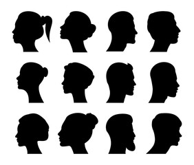 Profile of a male and female head. Vector avatar, profile icon, head silhouette. Vector graphic in flat style on a white background.