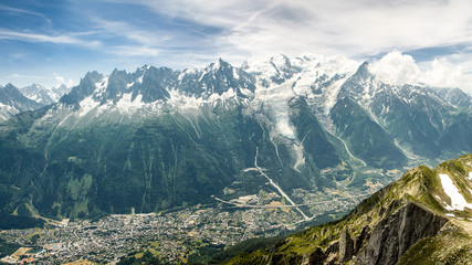 Foto op Canvas Alpen Mont Blanc France - Chamonix below. Captured from Le Brévent