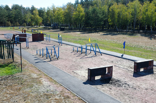 View of the obstacle course on training ground of the military base