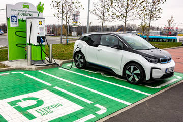 Charging the BMW i3 electric car with electricity