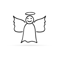 doodle angel icon, hand drawing vector illustration