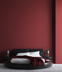 Modern luxury dark red bedroom interior, poster, wall mock up, 3d render