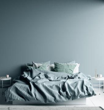Dark cold blue bedroom interior with linen sheet on bed, wall mock up, 3d render