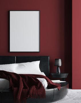 Modern luxury dark red bedroom interior, poster, wall mock up, 3d render