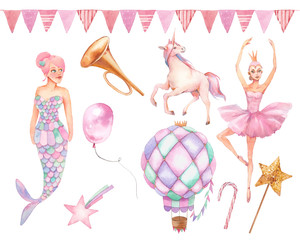 Girly design set. Hand painted toys, unicorn, air balloons, flowers, garland on white background. Baby girl greeting illustration