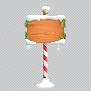 Christmas Wooden Sign Blank With 3d Snow Vector
