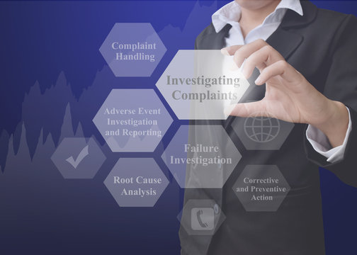 Business woman showing presentation element of Investigating Complaints on blue background.