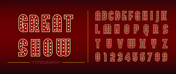 Broadway show style retro glowing font. 3d light bulb alphabet with red frame isolated on dark red background. illustration - Vector.