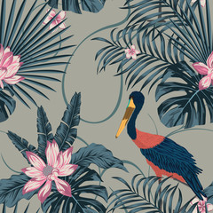 Stores à enrouleur Botanique Jungle tropic abstract color stork bird seamless