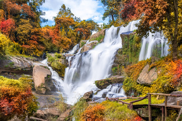 Printed roller blinds Waterfalls Colorful majestic waterfall in national park forest during autumn