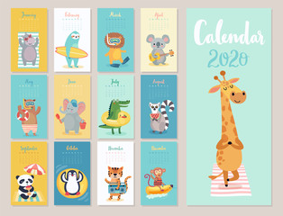 Wall Mural - Calendar 2020. Cute monthly calendar with beach animals.