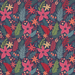 Wall Mural - Christmas Seamless pattern, hand drawn floral decorative elements.