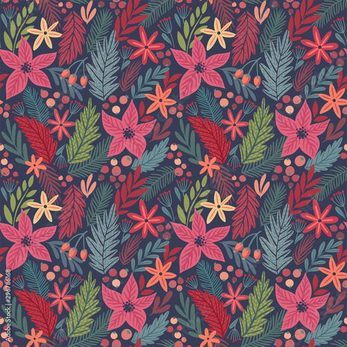 Wall mural Christmas Seamless pattern, hand drawn floral decorative elements.