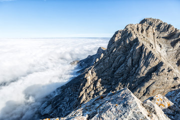 Foto auf Leinwand Himmelblau The mount Olympus in central Greece and Mytikas