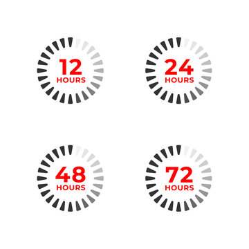 Set color icons of 12, 24, 48, 72 hours