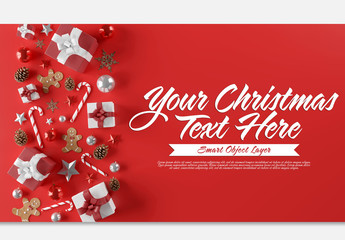 Red Christmas Scene Text Mockup
