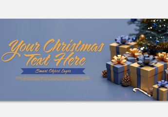 Blue and Gold Christmas Scene Text Mockup
