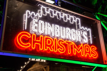 Edinburgh's Christmas market sign, Scotland, January 2019