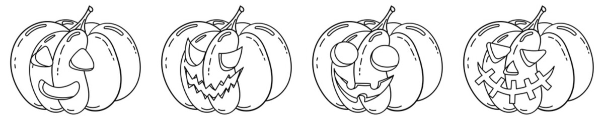 Coloring page with halloween pumpkin icon set