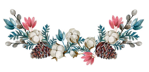 watercolor dried flowers, cotton, cones.