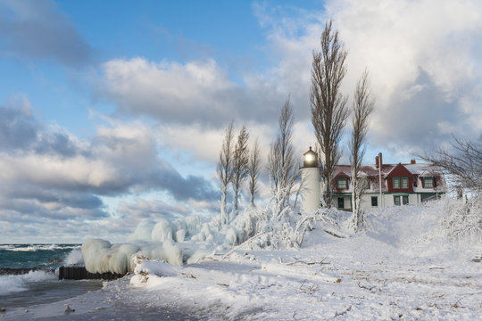 winter landscape with lighthouse